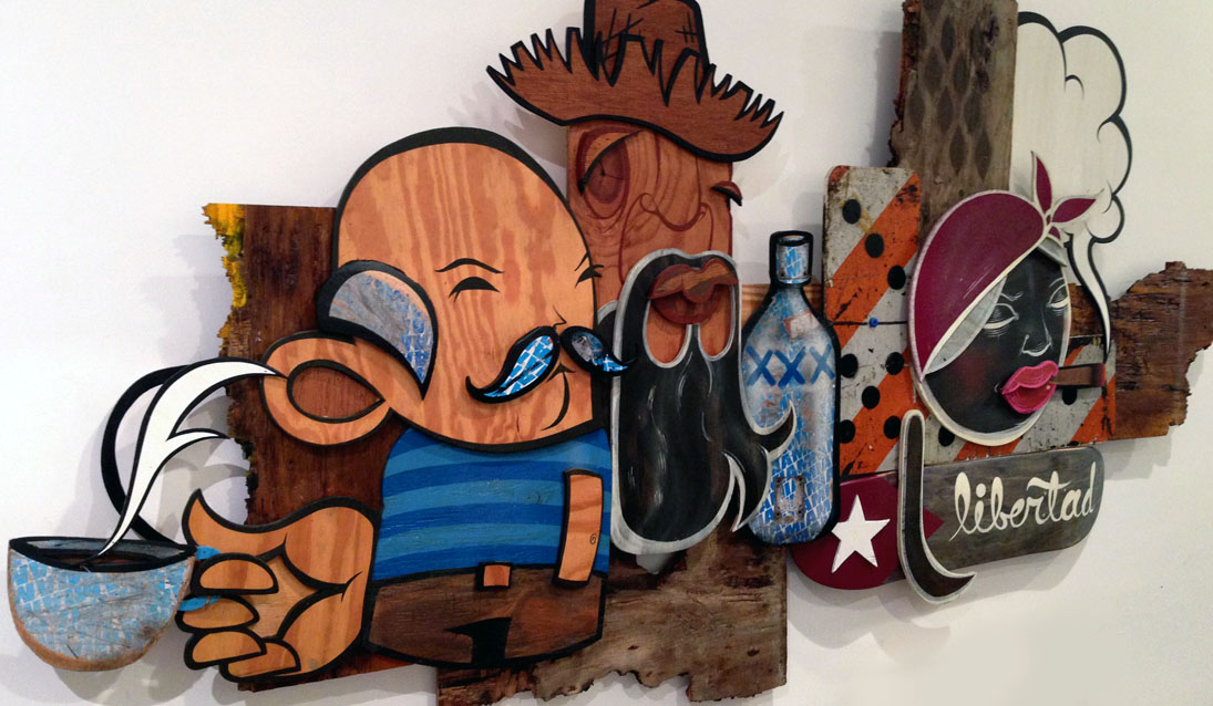 alex yanes krave art daniel fila of surface merchants create Libertad a custom wood cut out art piece in  little havana urban contemporary