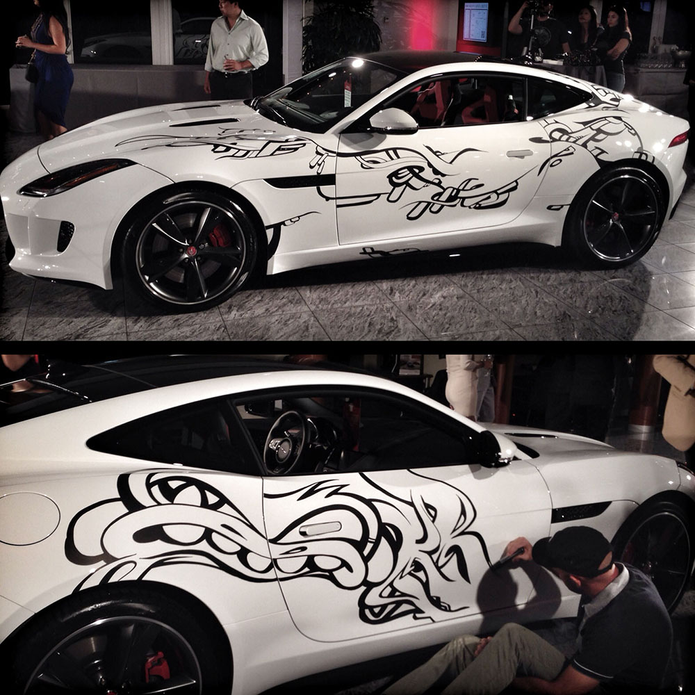 Krave graffiti on a Jaguar Car Art Daniel Fila