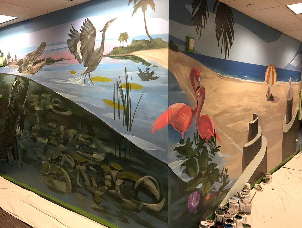 lockton insurance hires daniel krave art Fila to paint their miramar office urban contemporary