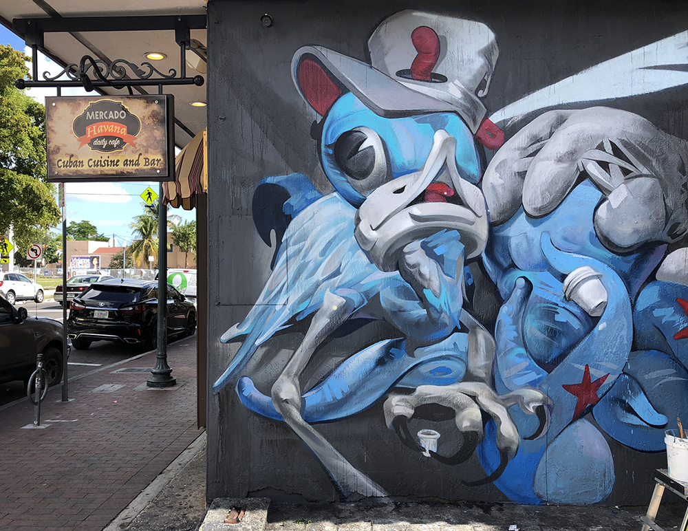 Daniel Fila in progress Miami Marlins Baseball mural Little Havana